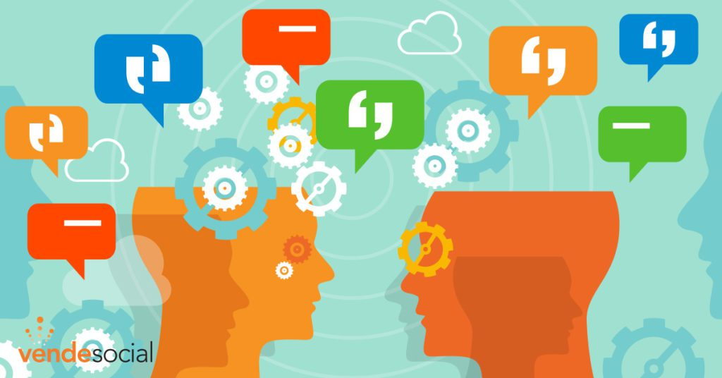 Graphic of two heads with gears and speech quotes floating above   brand awareness